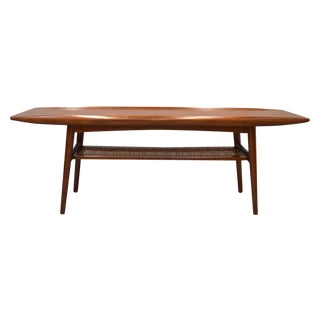Danish Modern Teak & Cane Surfboard Coffee Table