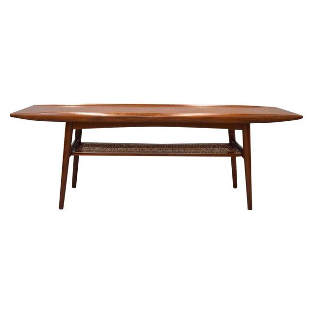 Danish Modern Teak Cane Surfboard Coffee Table Chairish