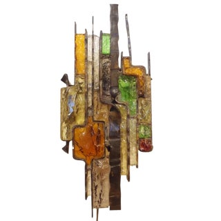 Large Wall Sconce in Steel and Glass in the style of Poliarte, Italy circa 1965