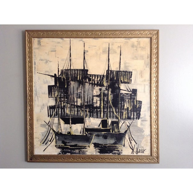 Mid-Century Asian Ship Painting - Image 2 of 6