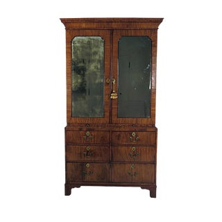 George II Walnut Linen Press