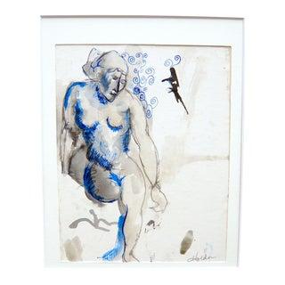 """Blue Nude"" Original Drawing"