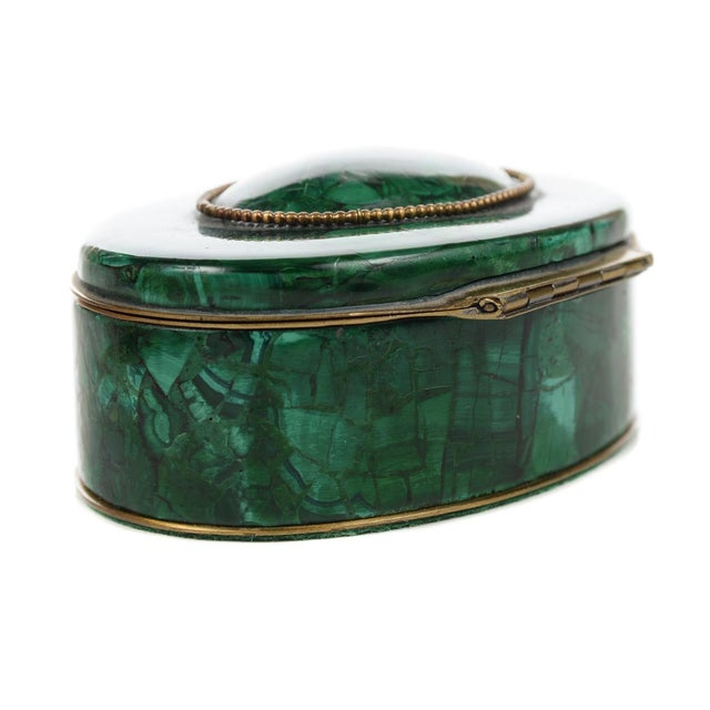 Russian Malachite Oval Compact Jewelry Box - Image 6 of 8
