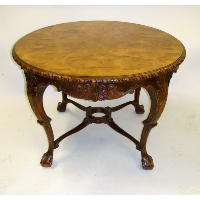 Swedish Flame Birch Carved Center Table - Image 2 of 5