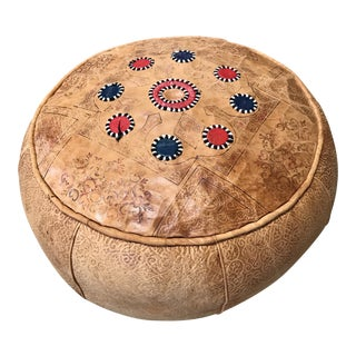 Moroccan Leather Pouf Pillow