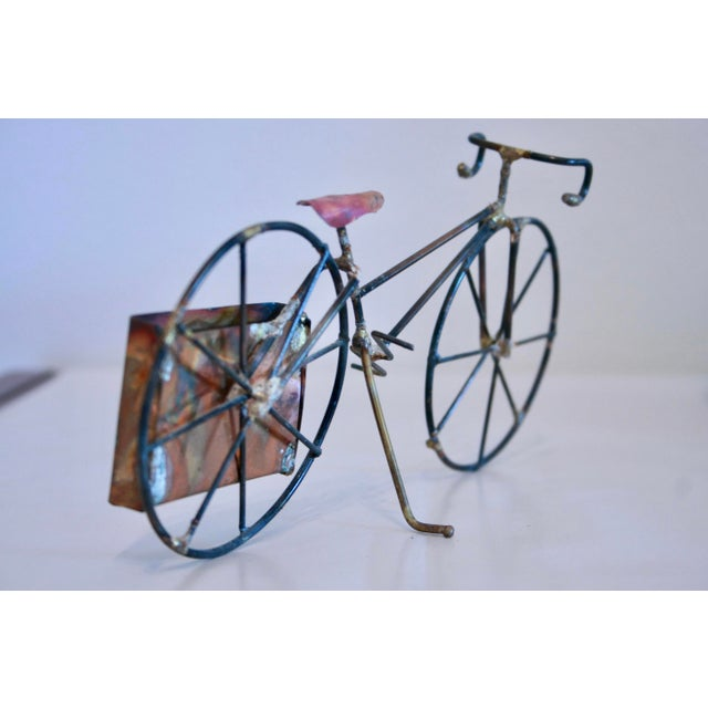 Brutalist Copper & Brass Bicycle Sculpture - Image 6 of 9