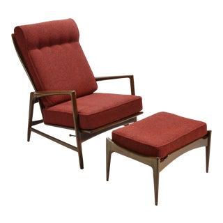 Ib Kofod-Larsen Reclining Lounge Chair and Ottoman