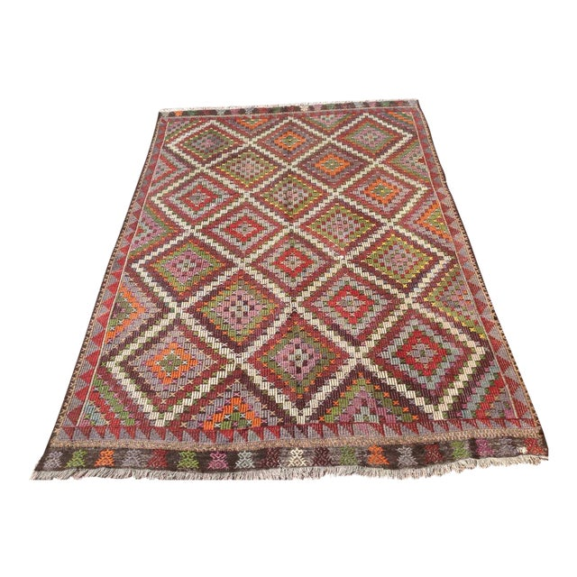 Vintage Turkish Kilim Rug - 6′9″ × 9′11″ - Image 1 of 6