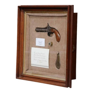 19th Century Glass Vitrine With Muzzle Pistol, Ramrod and Copper Powder Flask