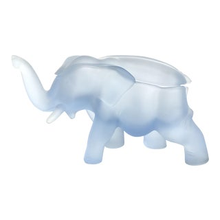 Blue Satin Glass Elephant Box
