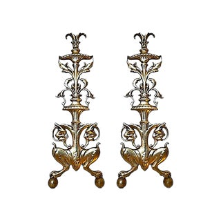 Andirons - Antique English Brass Andirons