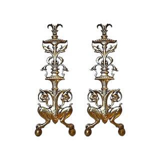 Antique English Brass Andirons - a Pair