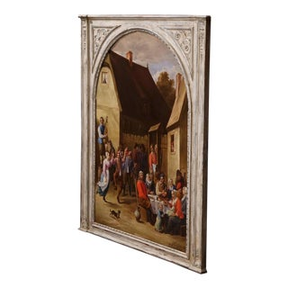 1928 French Oil Painting in Carved Frame