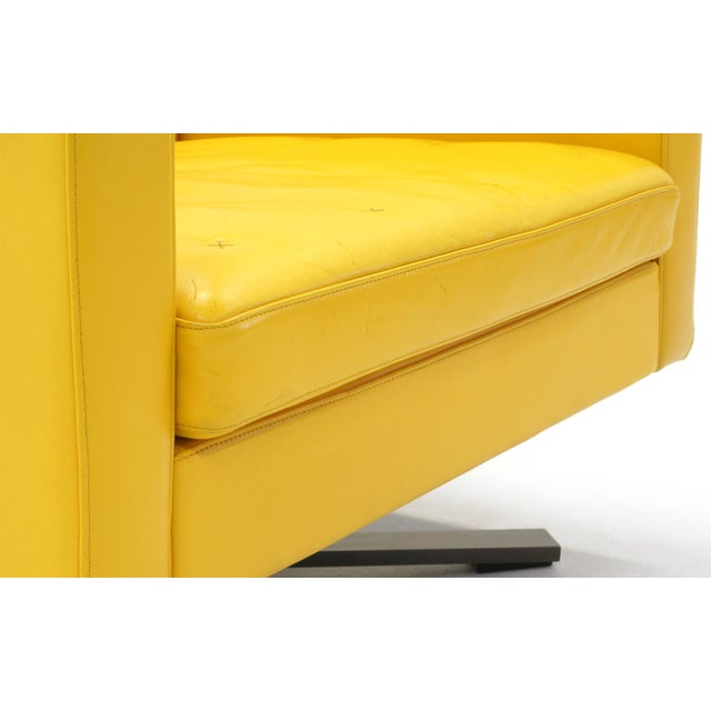 Poltrona Frau Yellow Leather Memory Swivel Lounge Chair - Image 9 of 11