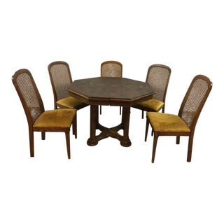 Vintage Dining Table & Cane Back Chairs