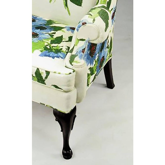 Pair of Elegant and Bold Floral Linen Upholstered Wing Chairs by Hickory Chair - Image 5 of 6