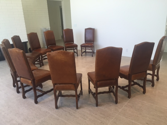 Leather Dining Chairs With Nailheads Set of 12
