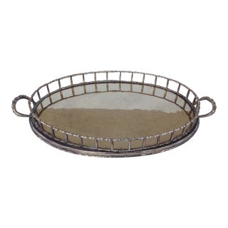 Vintage Brass Bamboo-Style Oval Tray