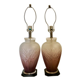Art Glass Table Lamps - A Pair
