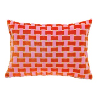 "Piper Collection Pink & Orange Velvet ""Gwen"" Pillow"