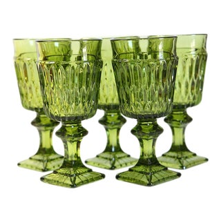 Vintage Green Glass Goblets - Set of 5