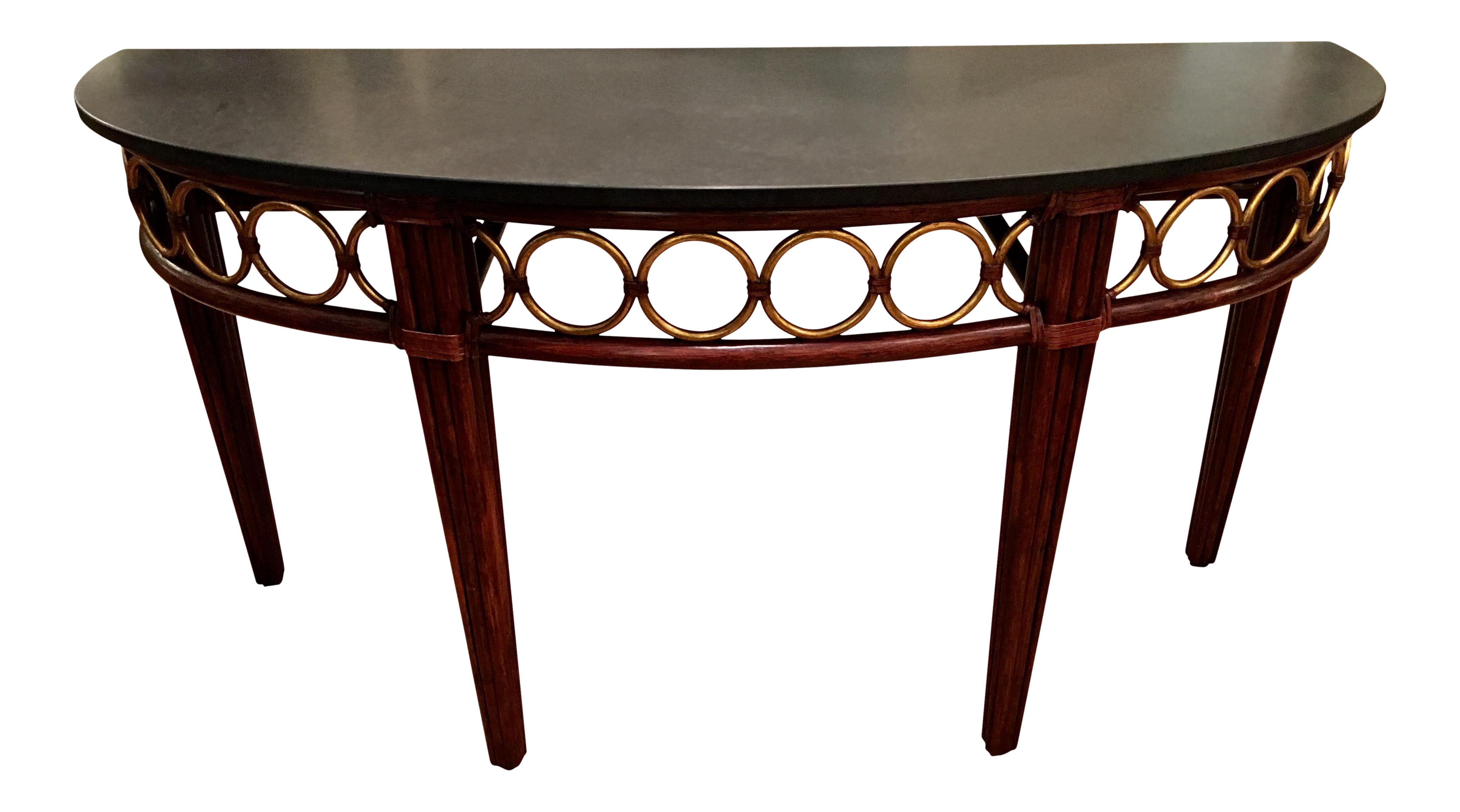 McGuire Furniture Co Marble Top Demilune Console Table   Image 1 Of 5