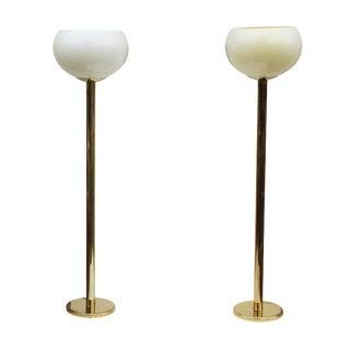 Postmodern Brass Uplighters - A Pair