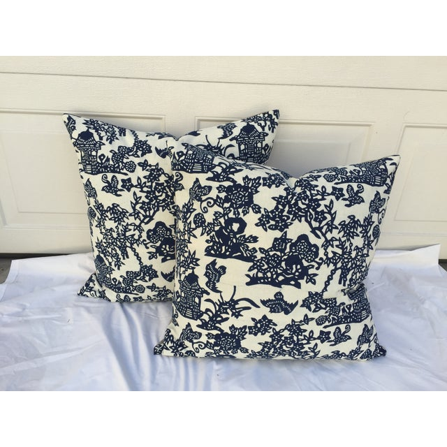 Blue & White Chinoiserie Pillows - A Pair - Image 2 of 9