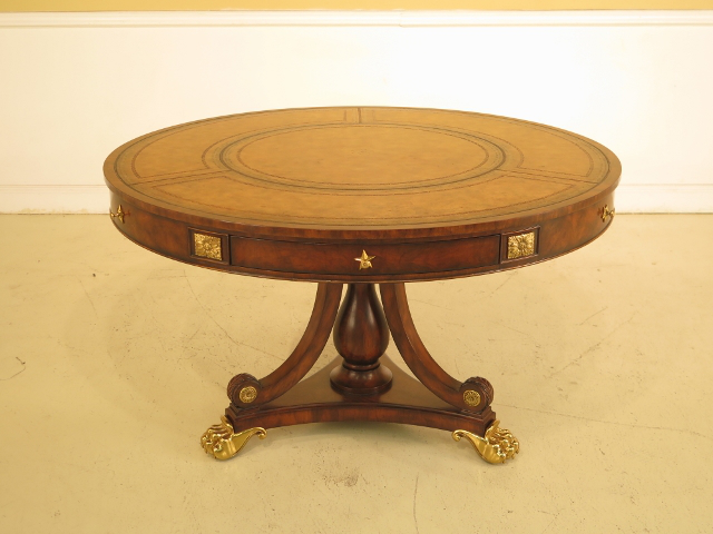 Lovely Maitland Smith Large 50 Round Leather Top Mahogany Center Table   Image 2  Of 11