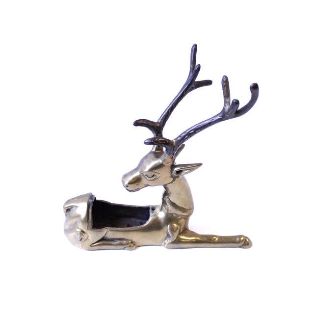 Vintage Brass Reindeer Planter Vase - Image 2 of 3