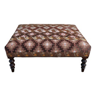 19th Century Napoleon III France Ottoman with Kilim Rugs Upholstery