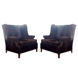 Vintage Black Cowhide Wingback Chairs - A Pair
