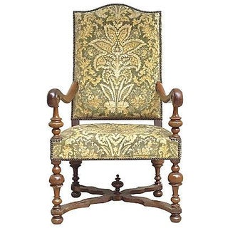 Antique Upholstered Louis XIV-Style Armchair