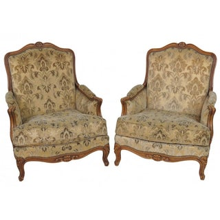 Antique French Carved Bergeres - a Pair