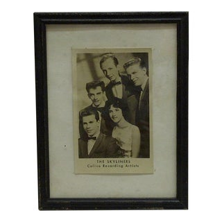 "Vintage ""The Skyliners"" Framed Promotional Black & White Photograph"