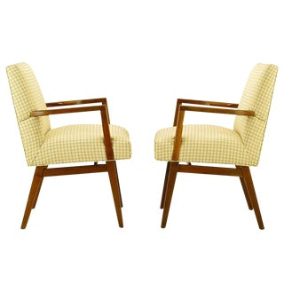 Pair Carved Walnut & Upholstered Arm Chairs After Wormley