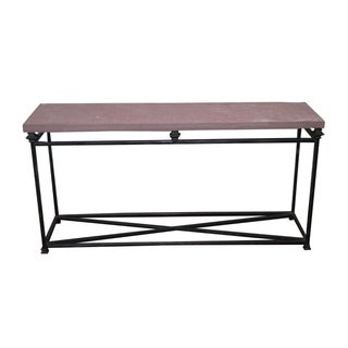 Quality Iron Base & Slate Top Console Table