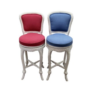 Italian Carved Rope & Tassel Bar Stools - Pair
