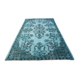 "Aqua Over-Dyed Turkish Oushak Rug - 5'7"" x 9'1"""