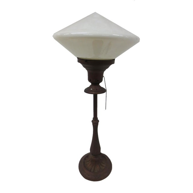 Art Deco Table Lamp With Milk Glass Shade - Image 1 of 5