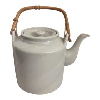 Taylor & NG White Ceramic Teapot With Bamboo Handle