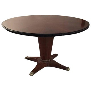 "French Art Deco Round ""Sunburst"" Dining Table with Silver Hardware"