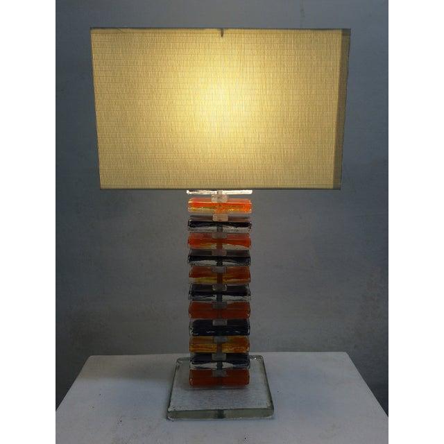 Murano Geometric Table Lamps - Pair - Image 4 of 6