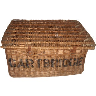 Vintage English Wicker Laundry Hamper