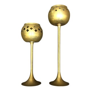 Boho Pierced Brass Goblet Candle Holders- A Pair