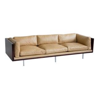 Milo Baughman Rosewood and Leather Case Sofa
