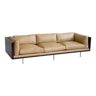Milo Baughman Rosewood and Leather Case Sofa
