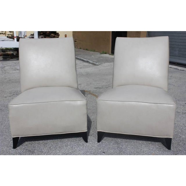 French Art Deco Armless Club Chairs - Pair - Image 4 of 8