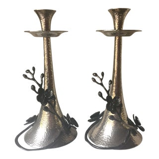 Pair of Michael Aram Sculptural Orchid Candle Holders
