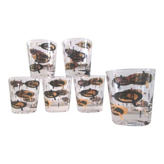 Atomic Black & Gold Lowball Glasses - Set of 6